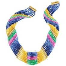 Eight Strand Multicolored Sapphire and Emerald Bead, Gold and Diamond Necklace