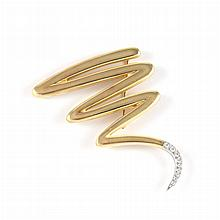 Gold and Diamond ''Scribble'' Brooch, Tiffany & Co., Paloma Picasso