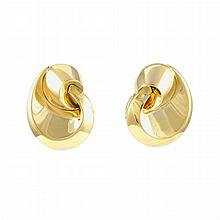 Pair of Gold-Plated White Gold Earclips, Marina B