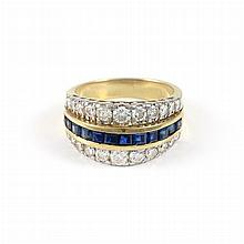 Gold, Sapphire and Diamond Band Ring