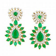 Pair of Two-Color Gold, Emerald and Diamond Pendant-Earrings