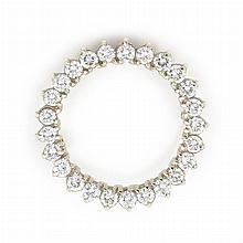 White Gold and Diamond Circle Brooch