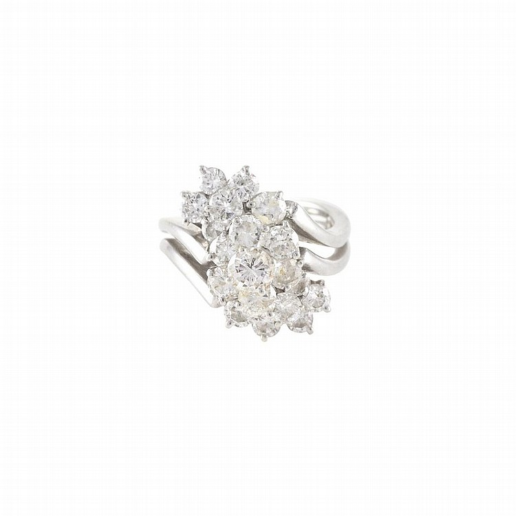 white gold and cluster ring
