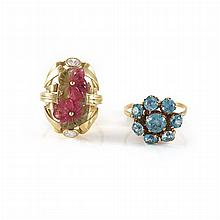 Gold, Multicolored Tourmaline and Diamond Ring and Gold and Blue Zircon Ring