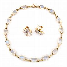 Pair of Gold, Moonstone and Sapphire Earclips and Necklace