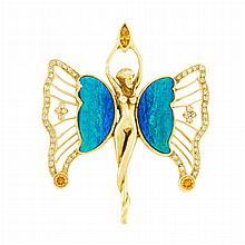Gold, Colored Diamond and Opal Butterfly Stick Pin