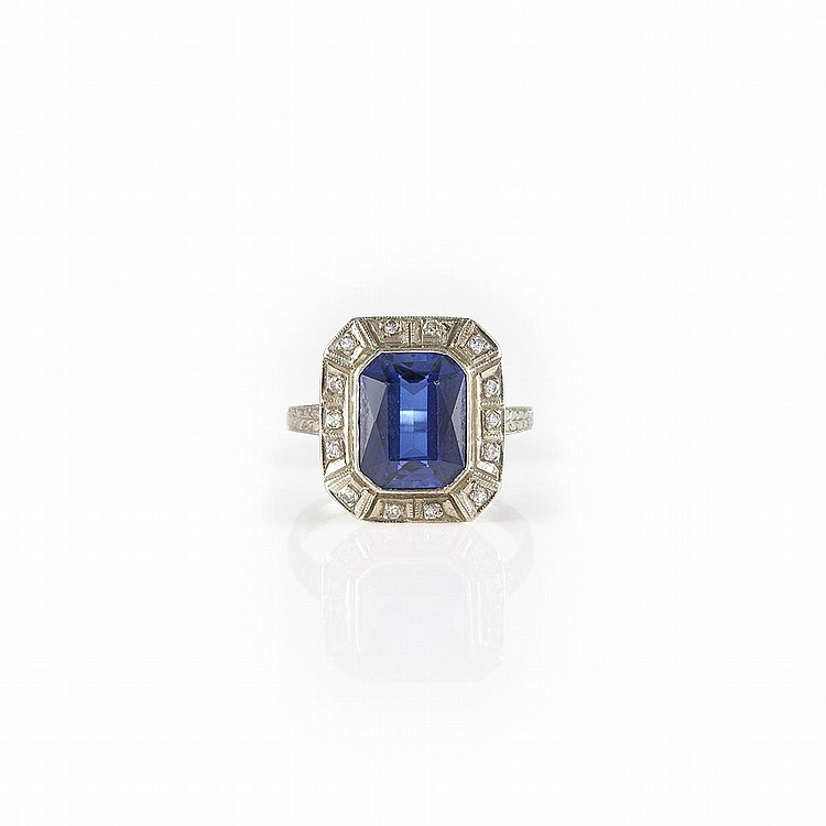 white gold synthetic sapphire and ring