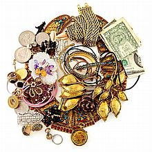 Group of Metal and Simulated Stone Costume Jewelry and Banknotes