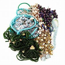 Group of Metal and Bead Costume Jewelry
