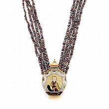 Freshwater Pearl Multistrand Necklace with Mother-of-Pearl Snuff Bottle Locket