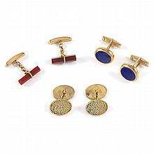 Three Pairs of Gold Cufflinks
