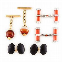 Three Pairs of Yellow and White Gold, Low Karat Gold, Coral, Black Onyx and Agate Cufflinks