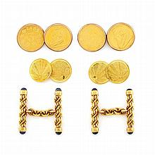 Three Pairs of Gold, Low Karat Gold and Synthetic Sapphire Cufflinks