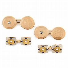 Two Pairs of Yellow, White and Rose Gold, Diamond and Sapphire Cufflinks