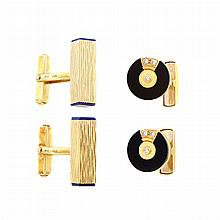 Pair of Gold, Black Onyx and Diamond Cufflinks and Pair of Gold and Lapis Cufflinks
