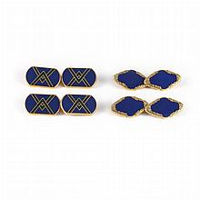Two Pairs of Gold, and Enamel Cufflinks
