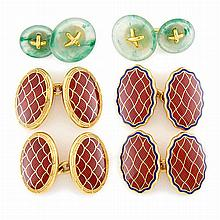 Three Pairs of Gold, Enamel and Jade Cufflinks