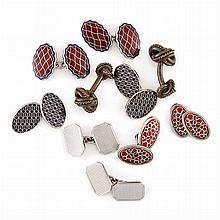 Five Pairs of White Gold, Low Karat White Gold and Silver Cufflinks
