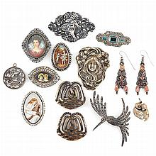Group of Antique Silver and Metal Costume Jewelry