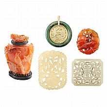Group of Three Jade Objets, Nephrite and Gold Pendant and Jade Snuff Bottle