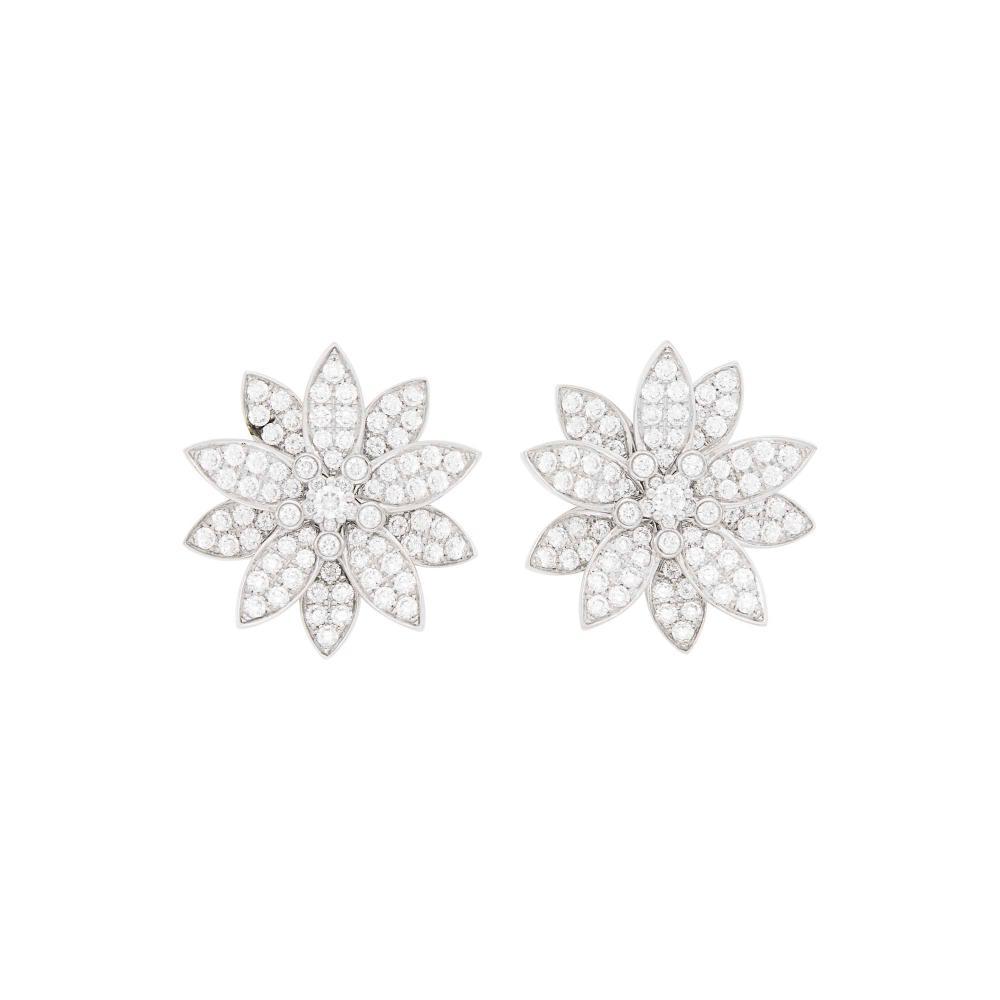 Van Cleef & Arpels Pair of White Gold and Diamond 'Lotus' Flower Earrings, France