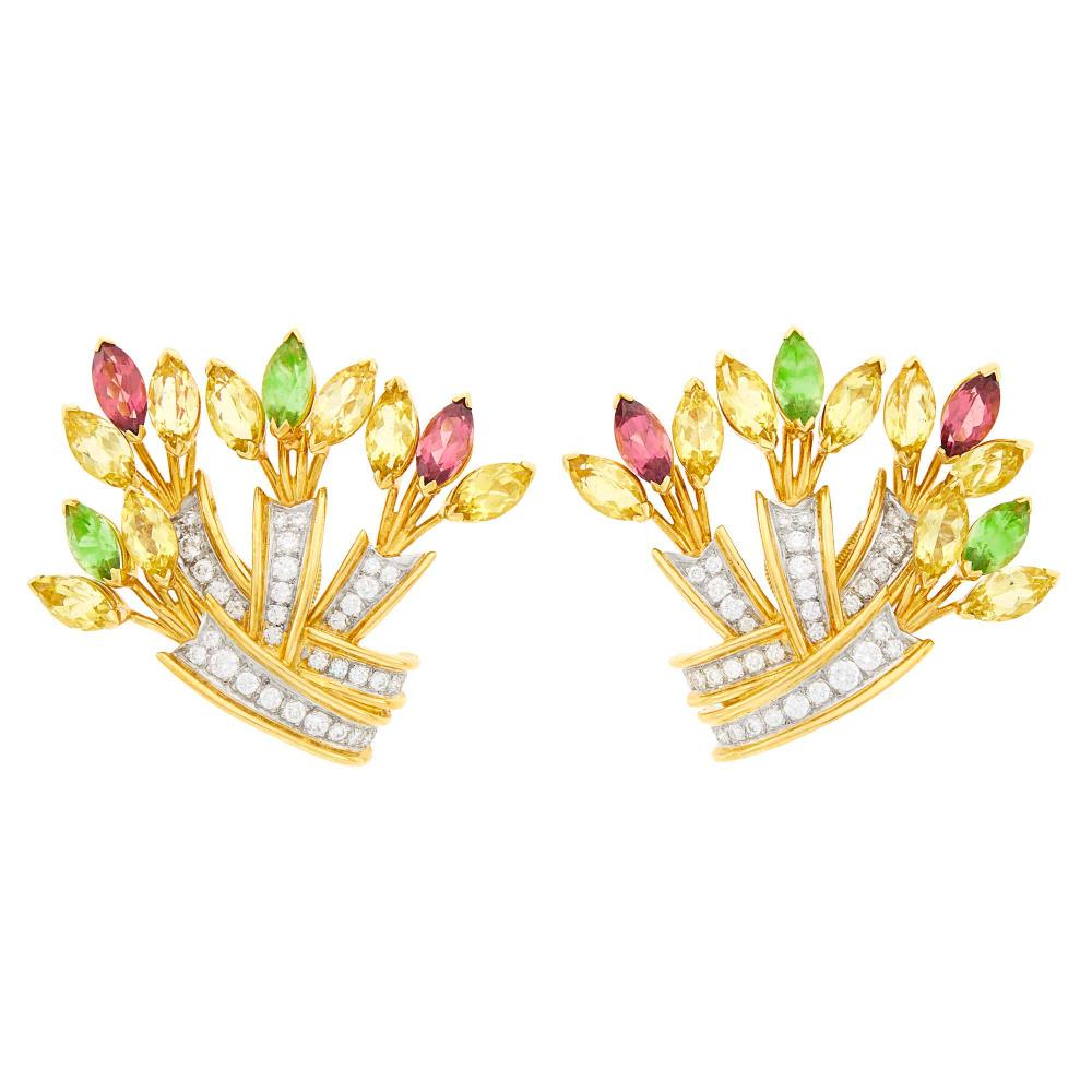 Tiffany & Co., Schlumberger Pair of Gold, Platinum, Colored Stone and Diamond Earclips