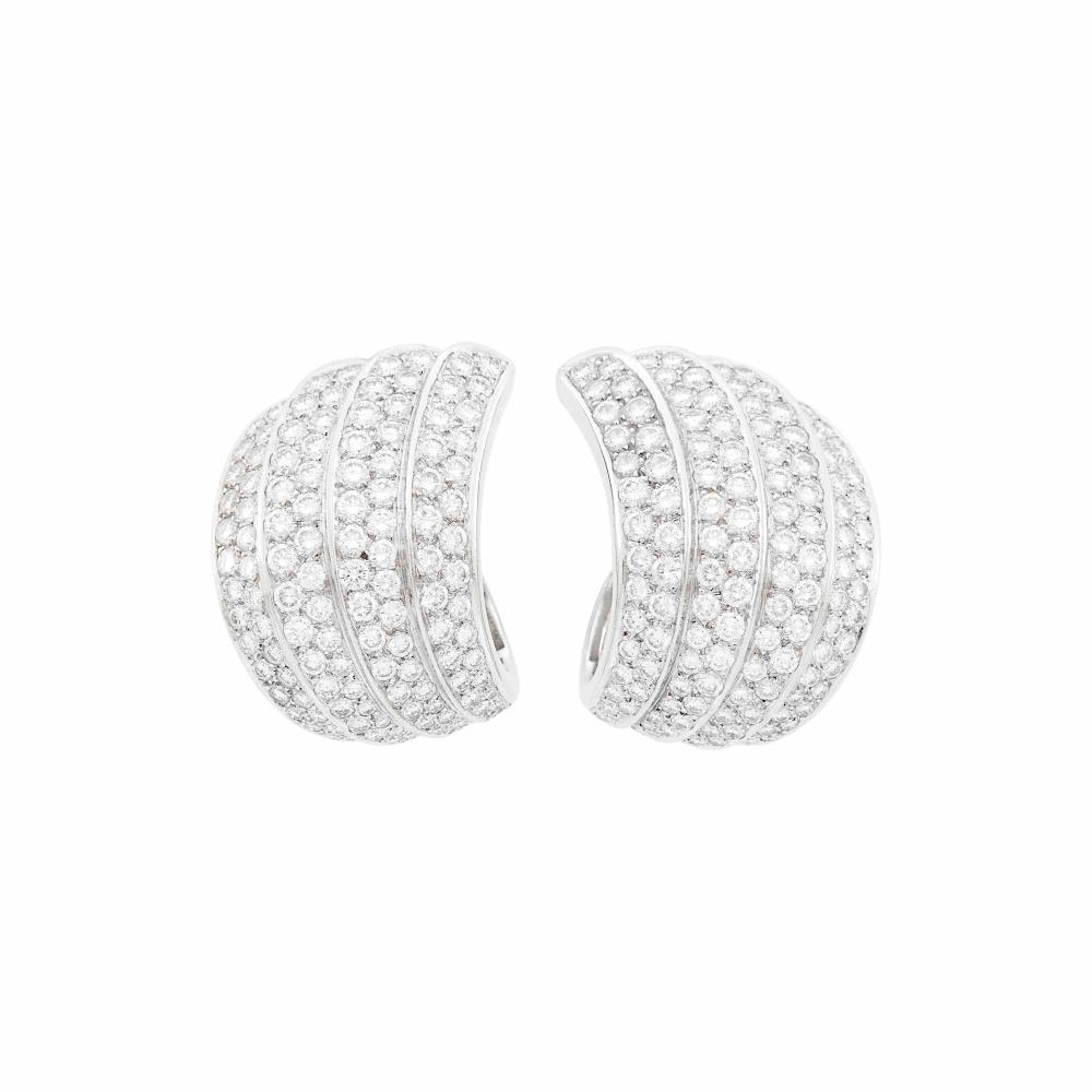 Van Cleef & Arpels Pair of Platinum, White Gold and Diamond Earclips, France