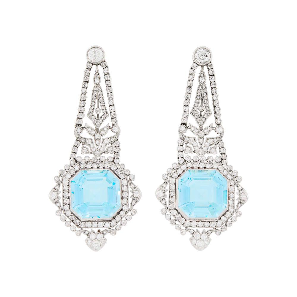 Pair of Belle Epoque Platinum, Aquamarine and Diamond Pendant-Earclips