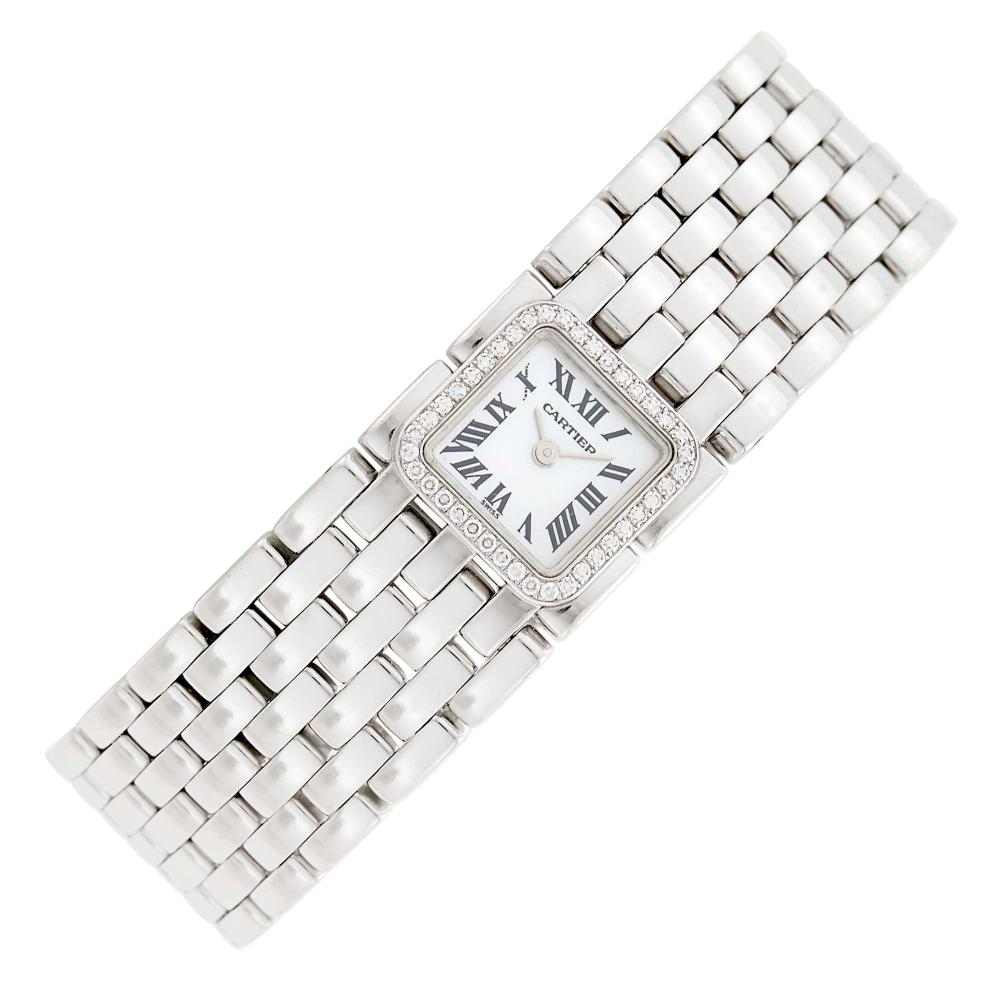 Cartier Wide White Gold, Mother-of-Pearl and Diamond 'Panthère Ruban' Wristwatch, Ref. 2422