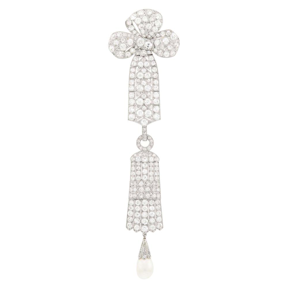 Belle Époque Platinum, Diamond and Natural Pearl Bow Corsage Brooch