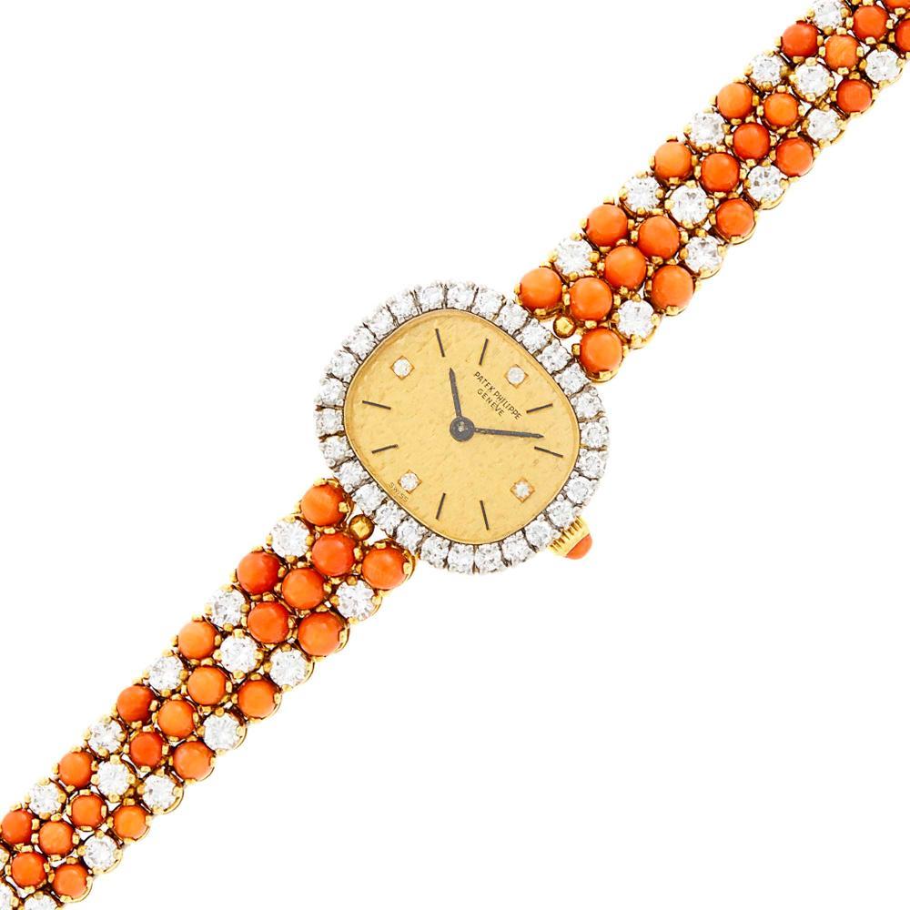 Patek Philippe Gold, Coral and Diamond Wristwatch, Ref. 4002/1