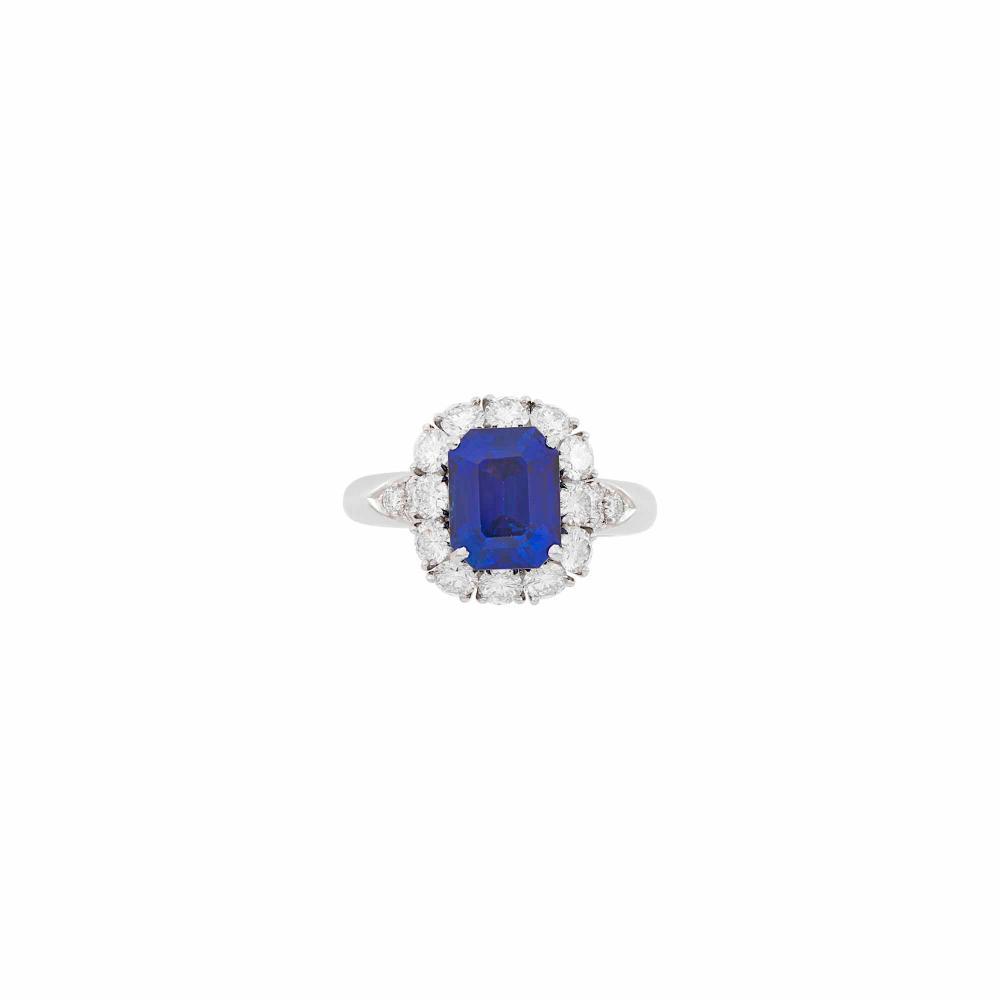 Van Cleef & Arpels Platinum, Sapphire and Diamond Ring