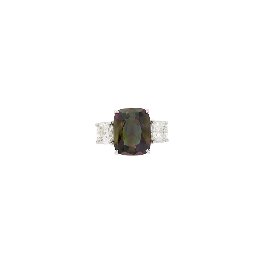Platinum, Alexandrite and Diamond Ring