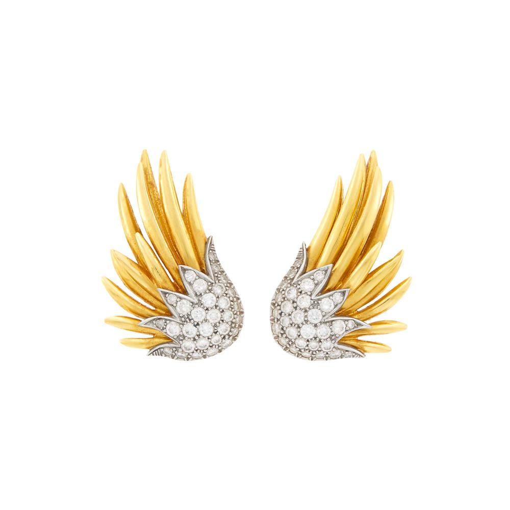 Tiffany & Co., Schlumberger Pair of Gold, Platinum and Diamond 'Wing' Earclips