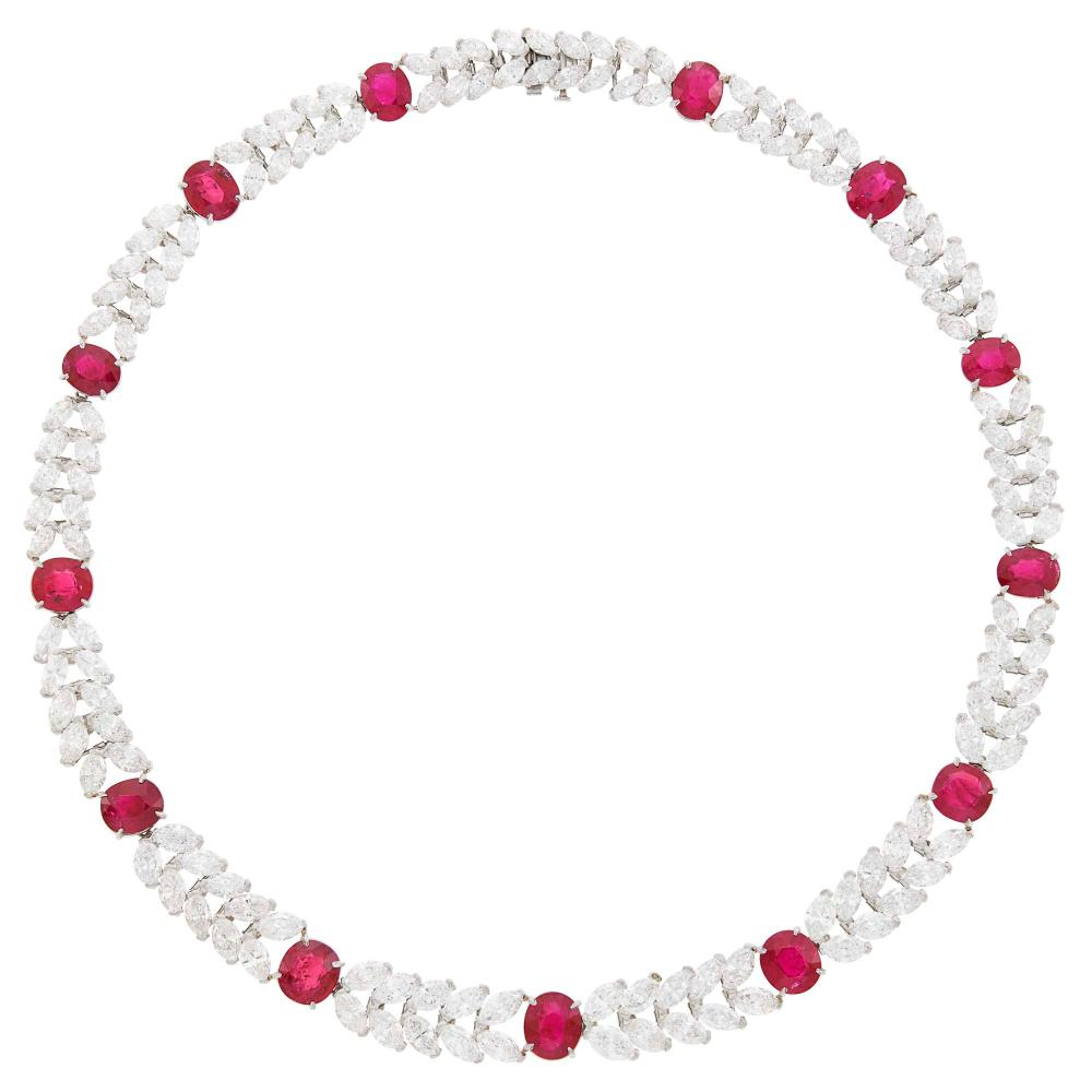 Harry Winston Platinum, Ruby and Diamond Necklace