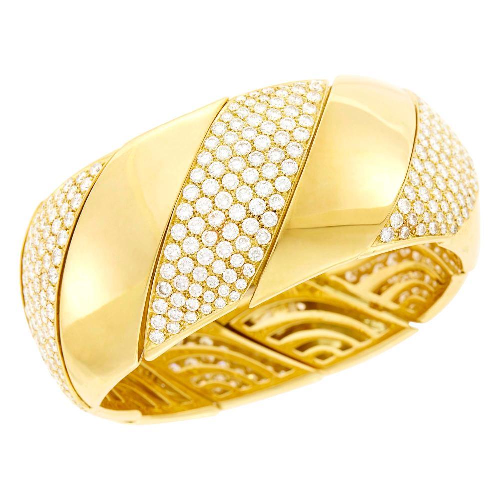 Gold and Diamond Cuff Bracelet