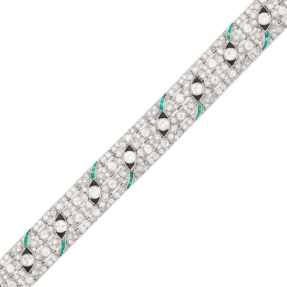 Platinum, Diamond, Emerald and Black Onyx Bracelet