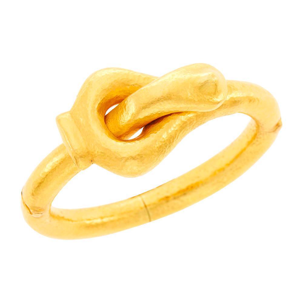 Ilias Lalaounis Hammered Gold Bangle Bracelet