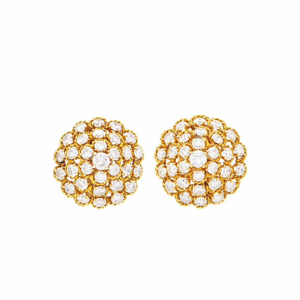 Van Cleef & Arpels Pair of Gold and Diamond Dome Earclips