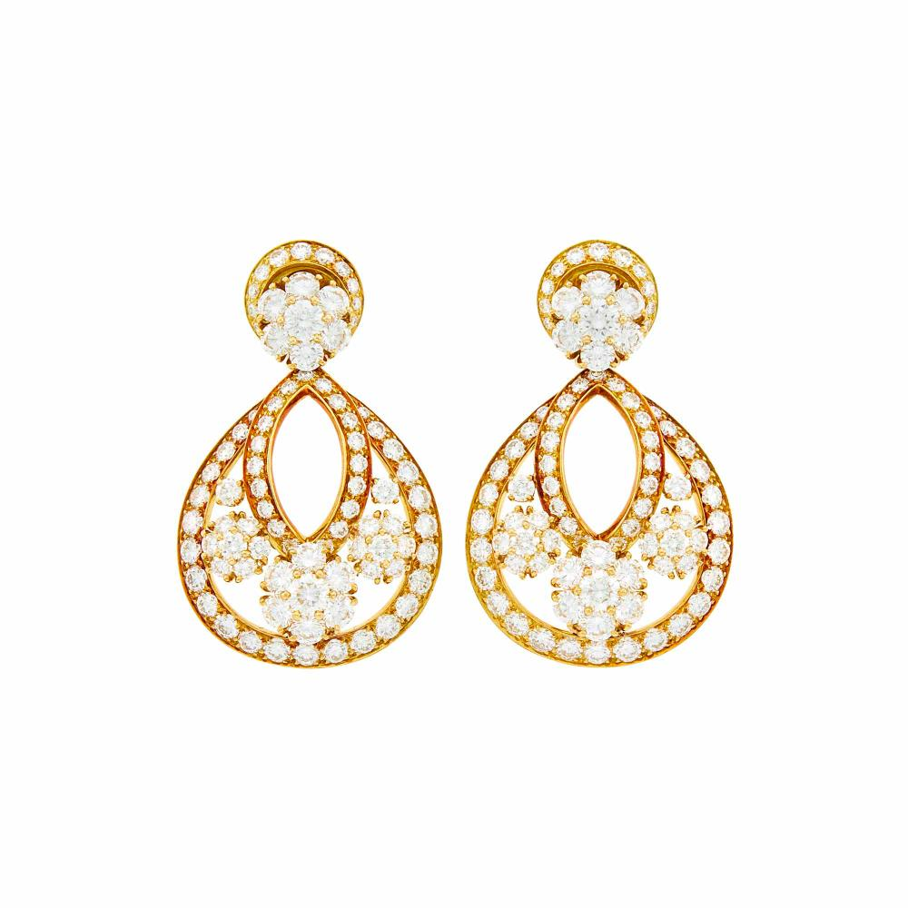 Van Cleef & Arpels Pair of Gold and Diamond 'Snowflake' Pendant-Earclips