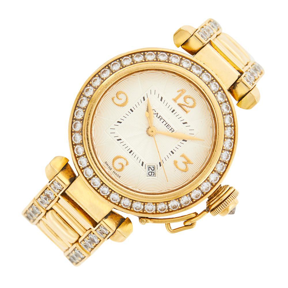 Cartier Gold and Diamond 'Pasha' Wristwatch