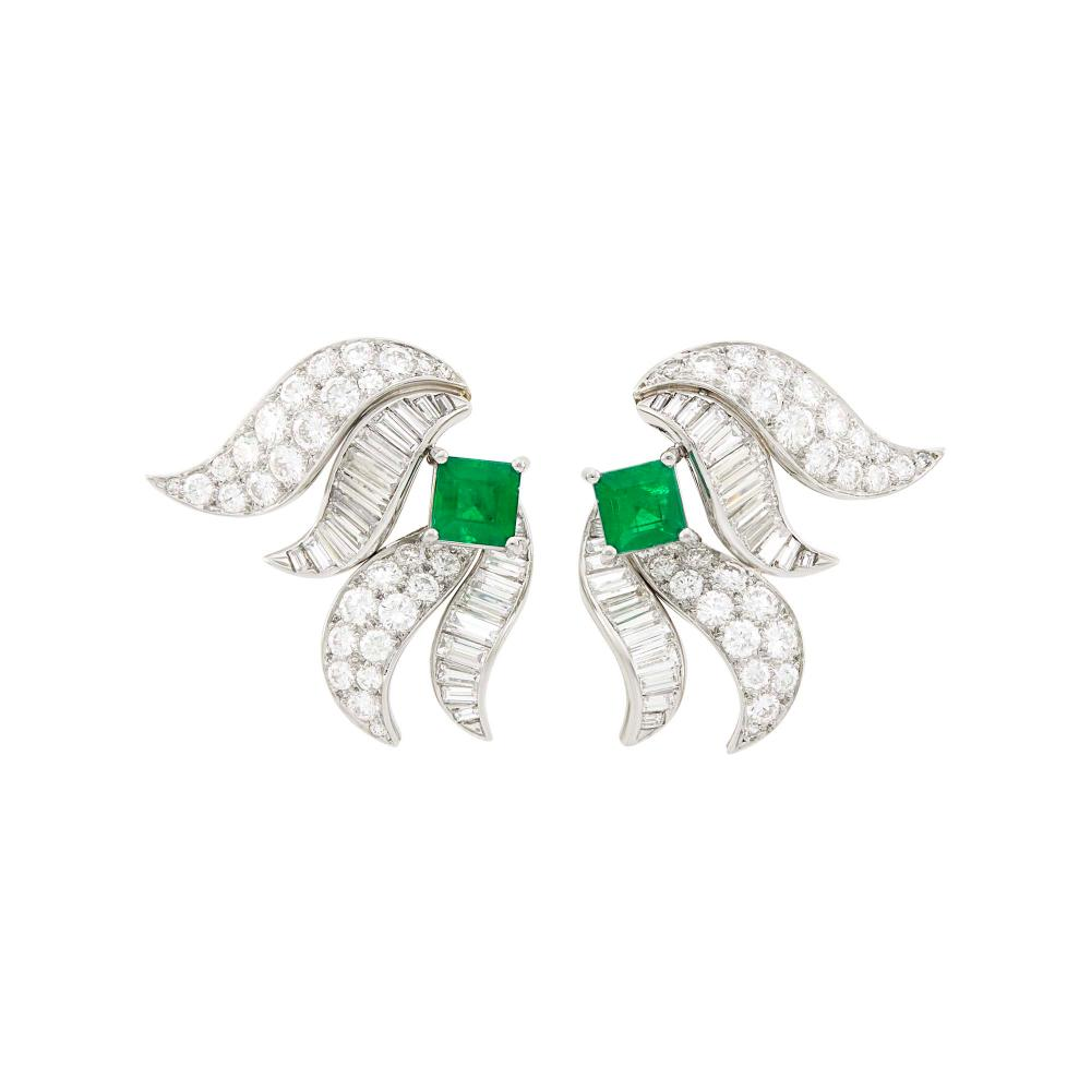 Tiffany & Co. Pair of Platinum, Emerald and Diamond Earclips