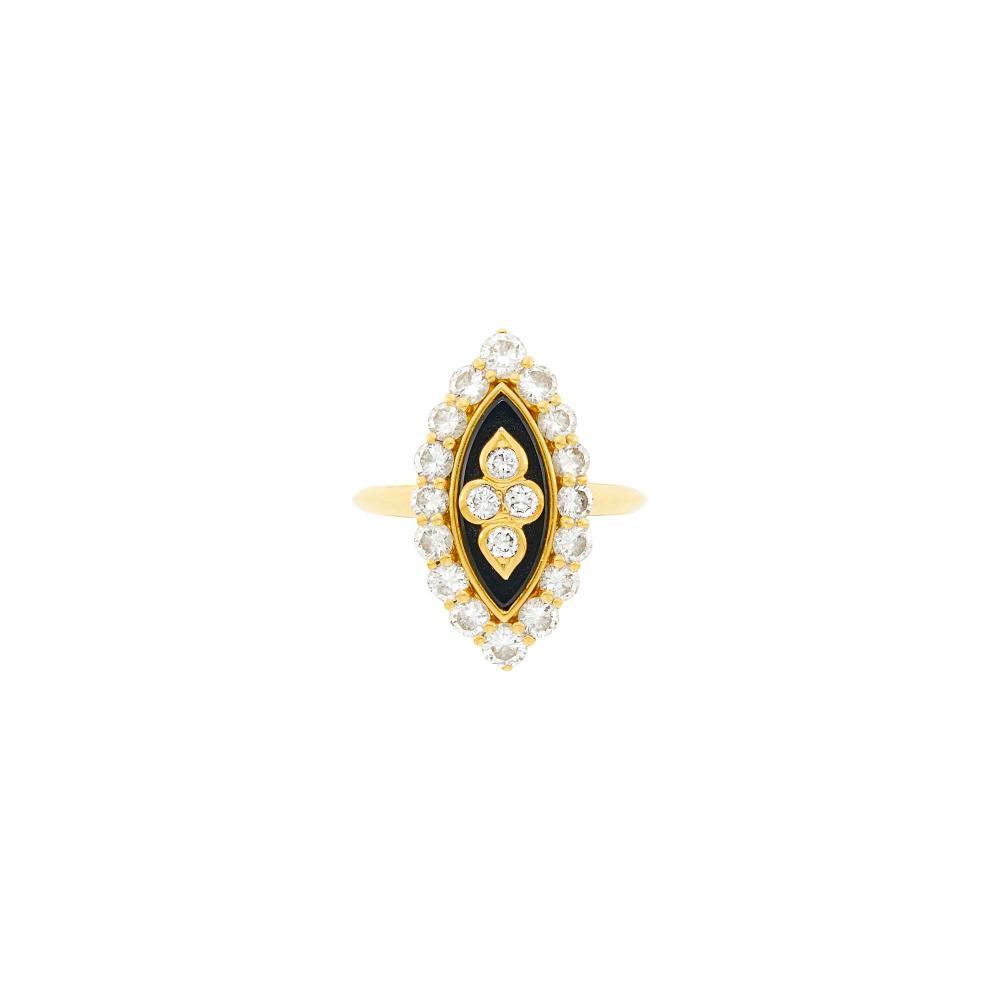 Van Cleef & Arpels Gold, Diamond and Black Onyx Ring, France