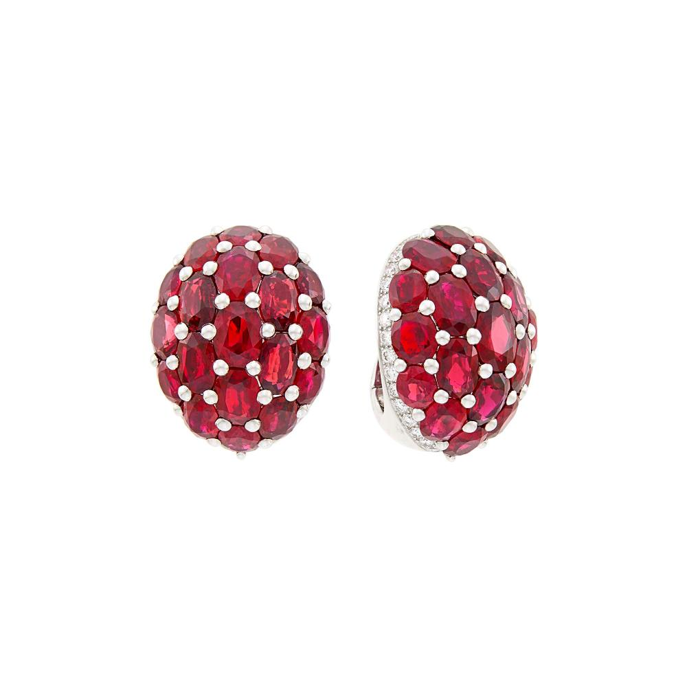 Graff Pair of White Gold, Ruby and Diamond Dome Earclips
