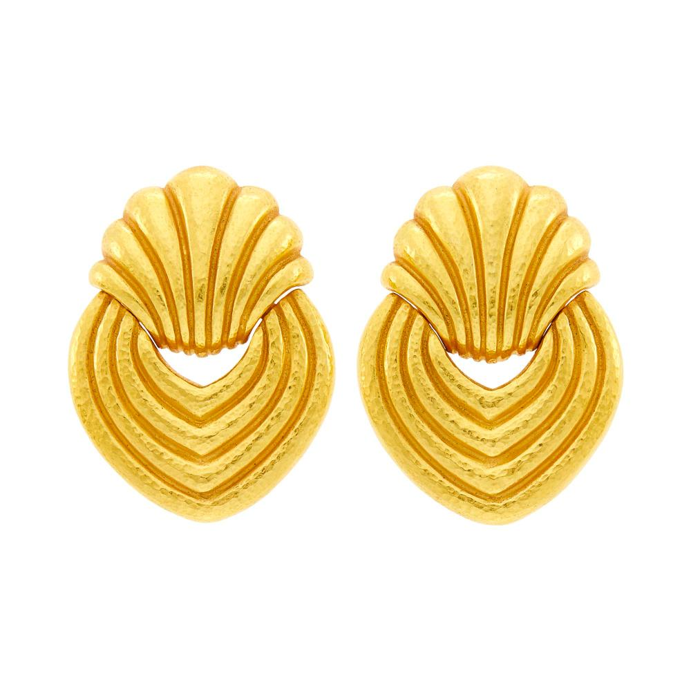 Zolotas Pair of High Karat Hammered Gold Earclips