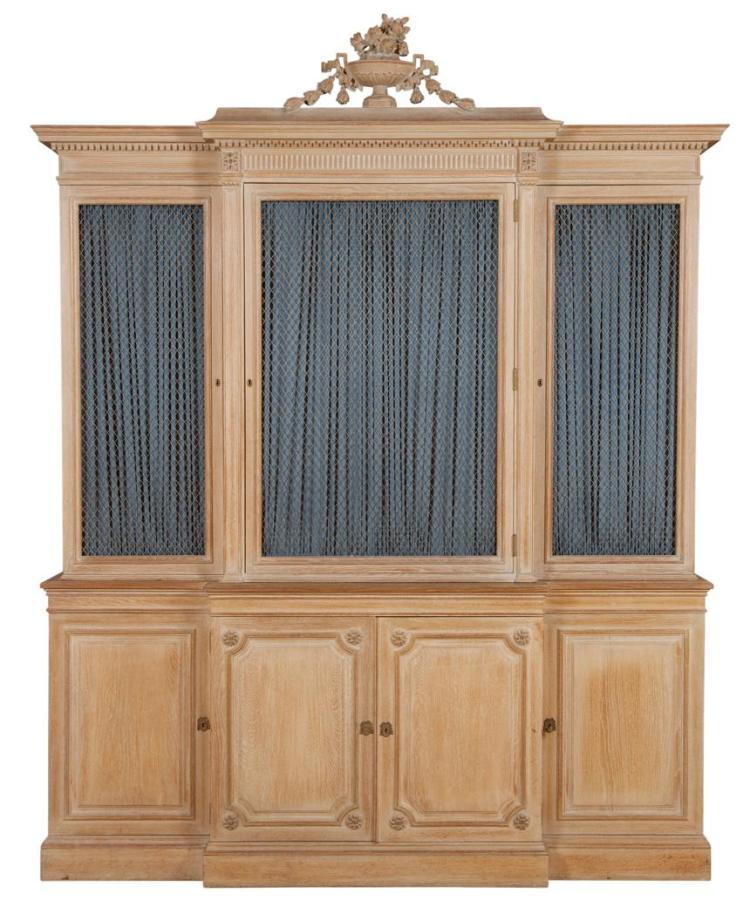 Louis XVI Style Limed Oak Breakfront Cabinet