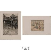 Charles Frederick William Mielatz Four etchings; Together with Jerome Myers CHILDREN PLAYING IN SAND, hand-colored etching (5)