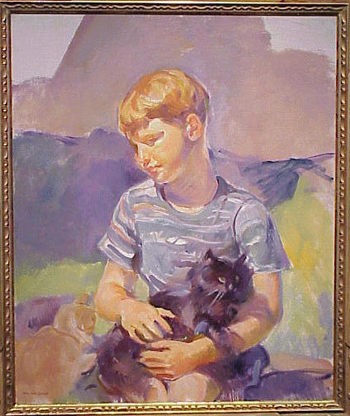 Alice Kent Stoddard 1893 - 1976 BOY WITH CAT Stamped Alice Kent Stoddard (ll) and estate stamped on