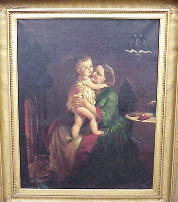 Lilly Martin Spencer 1822 - 1902 MOTHER AND CHILD BY THE HEARTH Signed and dated Lilly M. Spencer