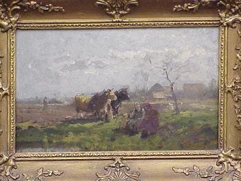 Karl Adam Heinisch German, 1847 - 1923 FARMERS IN A PASTURE Signed and dated...A Heinisch Mun...